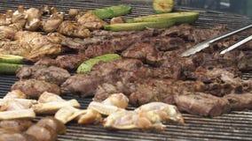 A carne e as batatas fritam na grande bandeja vídeos de arquivo