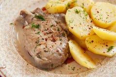 Carne e batatas fervidas fotos de stock royalty free