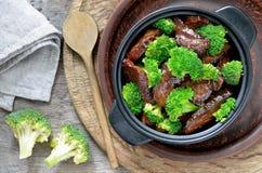Carne e brócolos Fotos de Stock Royalty Free