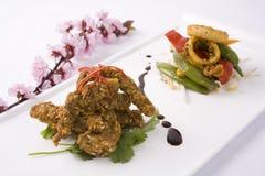 Carne e calamar Fotografia de Stock