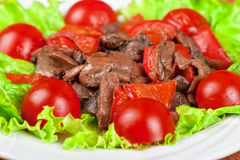 Carne e cogumelos Roasted Imagens de Stock