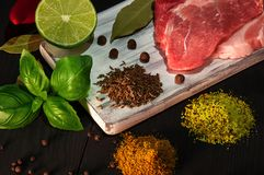 Carne e condimentos foto de stock royalty free