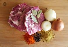 Carne e especiarias Imagem de Stock Royalty Free