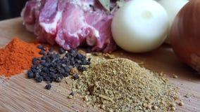 Carne e especiarias Foto de Stock