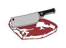 Carne e faca Fotografia de Stock