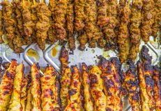 Carne e galinha Satay Imagens de Stock Royalty Free