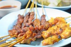 Carne e galinha Satay Foto de Stock Royalty Free