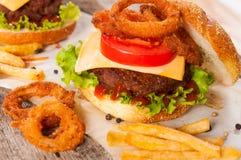 Carne e microplaquetas Imagens de Stock