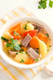 Carne e minestra di verdure Fotografia Stock Libera da Diritti
