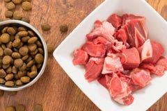 Carne e o alimento de cão seco foto de stock