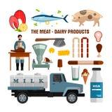 A carne e os produtos láteos vector objetos no fundo branco Elementos do projeto do alimento, ícones no estilo liso ilustração do vetor