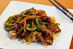 Carne e pimentas verdes Imagem de Stock