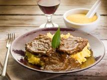 Carne e porridge brasati Fotografia Stock
