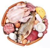 Carne e produtos lácteos fotografia de stock