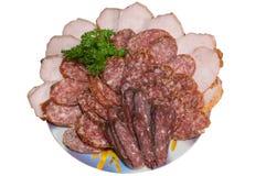 Carne e salsiccia. Fotografia Stock Libera da Diritti