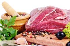 Carne e spezia grezze Immagini Stock Libere da Diritti