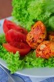 Carne e vegetais grelhados Foto de Stock