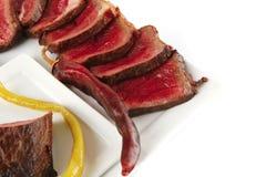 Carne e vegetais grelhados quentes Imagens de Stock Royalty Free