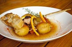 Carne e verdure calde del piatto Fotografia Stock