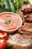 Carne e verdure con salsa. Fotografie Stock Libere da Diritti