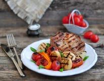 Carne e verdure cotte Fotografie Stock
