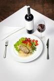 Carne e vino Immagini Stock Libere da Diritti