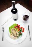 Carne e vino Fotografia Stock