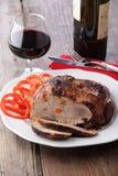 Carne e vino cotti Fotografia Stock Libera da Diritti