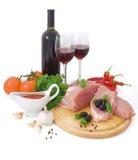 Carne e vino rosso Fotografie Stock Libere da Diritti