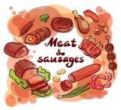 Carne ed iscrizione messa salsiccie Immagine Stock