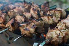Carne em carvões fotografia de stock royalty free