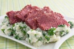 Carne em lata e Colcannon Fotos de Stock Royalty Free
