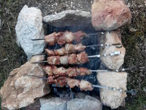 Carne en el fuego Fotografía de archivo