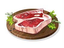 Carne en la placa stock de ilustración