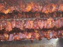 Carne en pedazos en el pincho Fotos de archivo