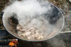 Carne en una caldera 2 Imagen de archivo libre de regalías