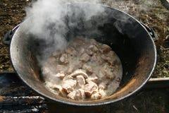 Carne en una caldera 3 Fotografía de archivo libre de regalías