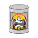 Carne enlatada da carne Conservas alimentares de uma vaca séria e forte ST Fotografia de Stock Royalty Free