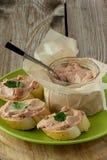 Carne espalhada no pão Imagem de Stock Royalty Free