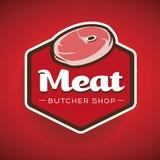 Carne - etichetta del deposito del macellaio o vettore del distintivo Immagini Stock Libere da Diritti