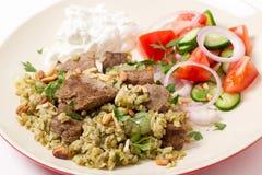 Carne fervida com cereal do freekeh Foto de Stock