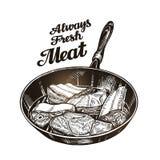 Carne, filete en sartén Ejemplo dibujado mano del vector del bosquejo Imagen de archivo libre de regalías