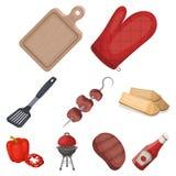 Carne, filete, leña, parrilla, tabla y otros accesorios para la barbacoa Iconos determinados de la colección del Bbq en vector de libre illustration