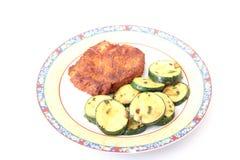 Carne fresca con el calabacín Foto de archivo libre de regalías
