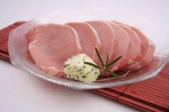 Carne fresca con mantequilla imagen de archivo