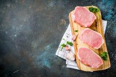 Carne fresca cruda, bistecca del petto della carne di maiale fotografia stock