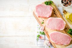 Carne fresca cruda, bistecca del petto della carne di maiale immagini stock