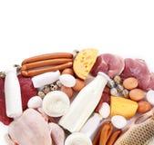 Carne fresca e prodotti lattier-caseario Immagine Stock