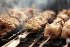 Carne fresca em um espeto de aço em um soldador Imagem de Stock Royalty Free