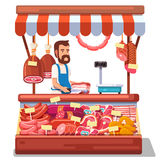 Carne fresca local de venda de fazendeiro do mercado Fotografia de Stock